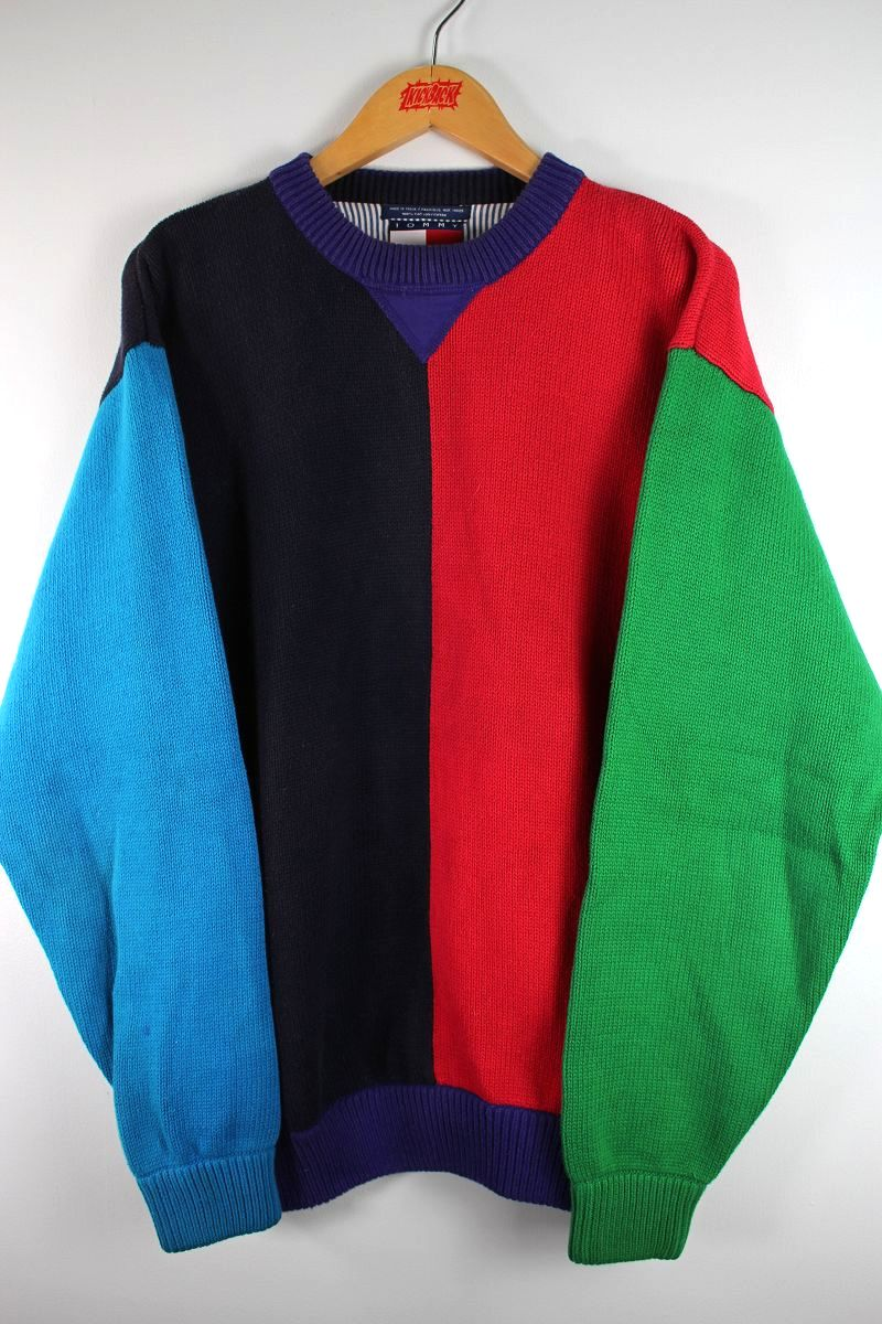 USED!!! TOMMY HILFIGER / COLOR-BLOCK COTTON KNIT SWEATER (90'S) / blue×red×purple