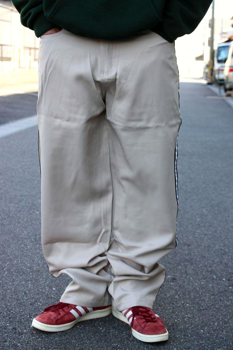 DEADSTOCK!!! KIK WEAR / SIDE LINE BUGGY PANTS (90'S) / beige×white×black
