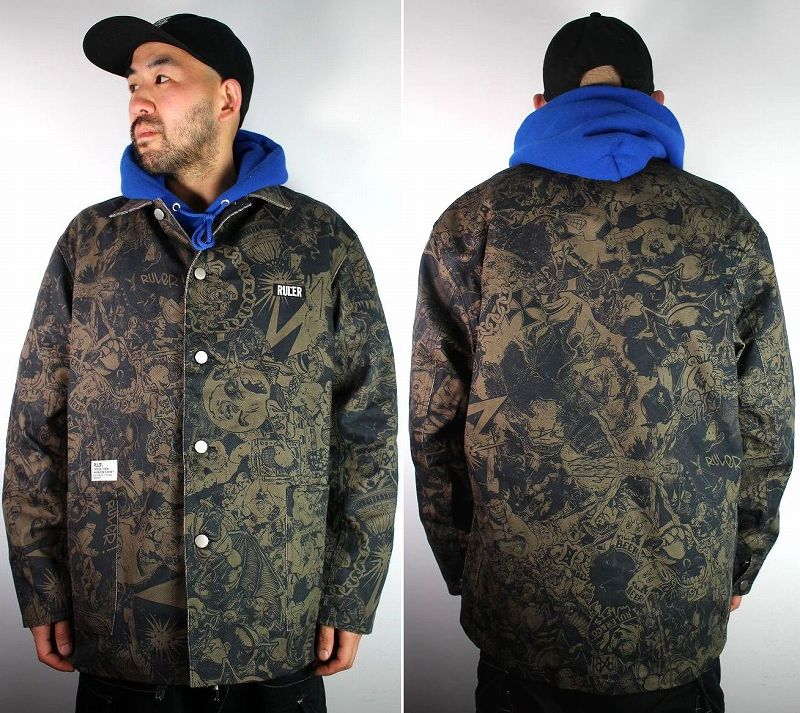 """RULER / """"WAY OF LIFE"""" COVERALL JACKET / black"""