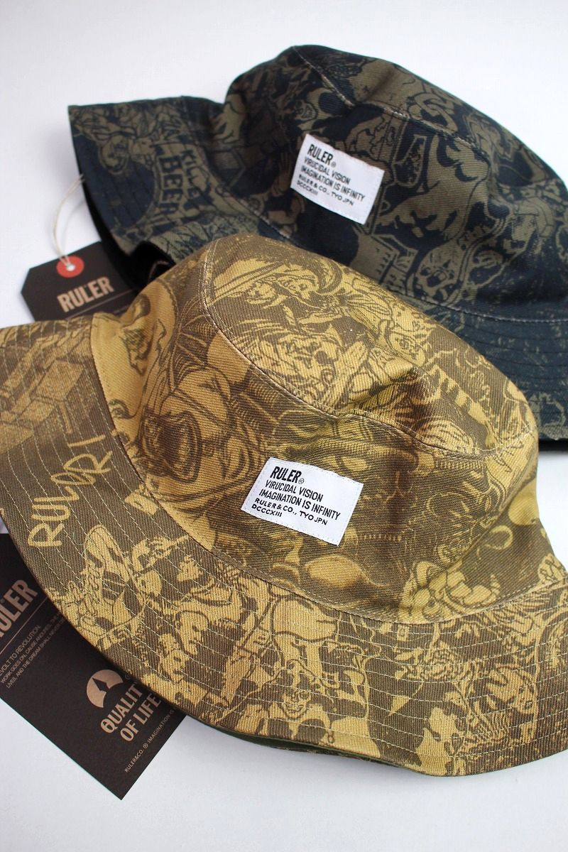 "RULER / ""WAY OF LIFE"" REVERSIBLE BUCKET HAT"