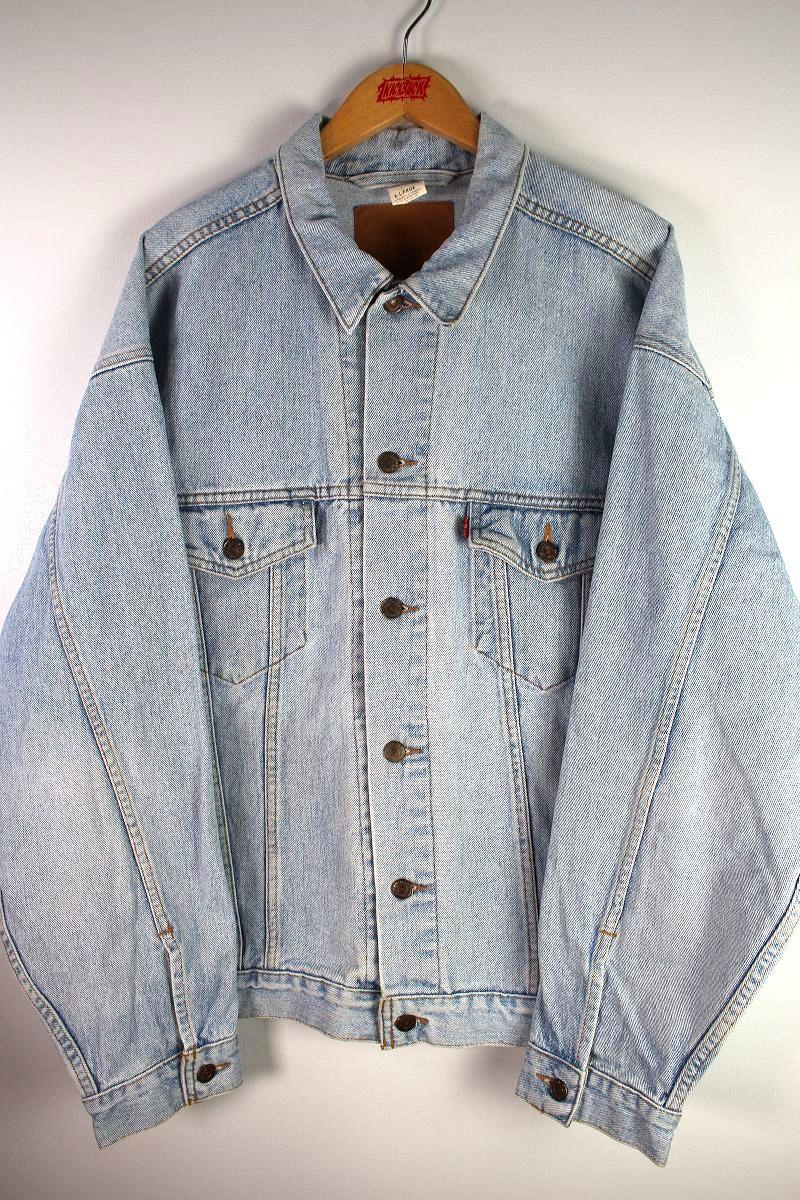 USED!!! LEVI'S / DENIM TRUCKER JACKET (90'S) / hard stone wash indigo