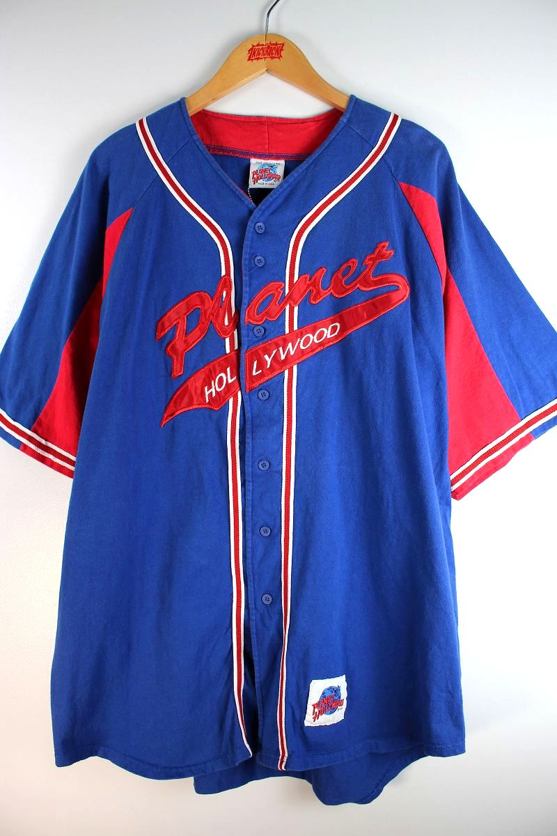 USED!!! PLANET HOLLYWOOD / COTTON BASEBALL SHIRTS (90'S) / blue×red×white