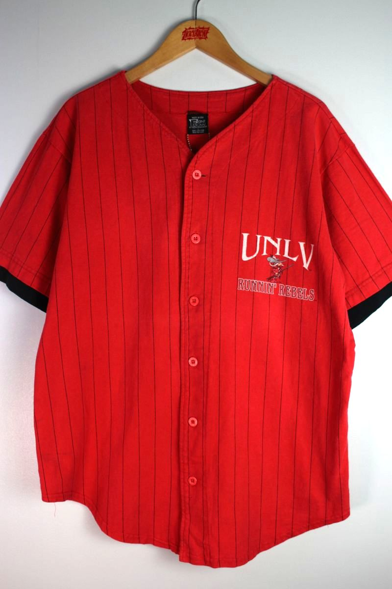 """USED!!! FRONT ROW / """"UNLV"""" COTTON BASEBALL SHIRTS (90'S) / red×black"""