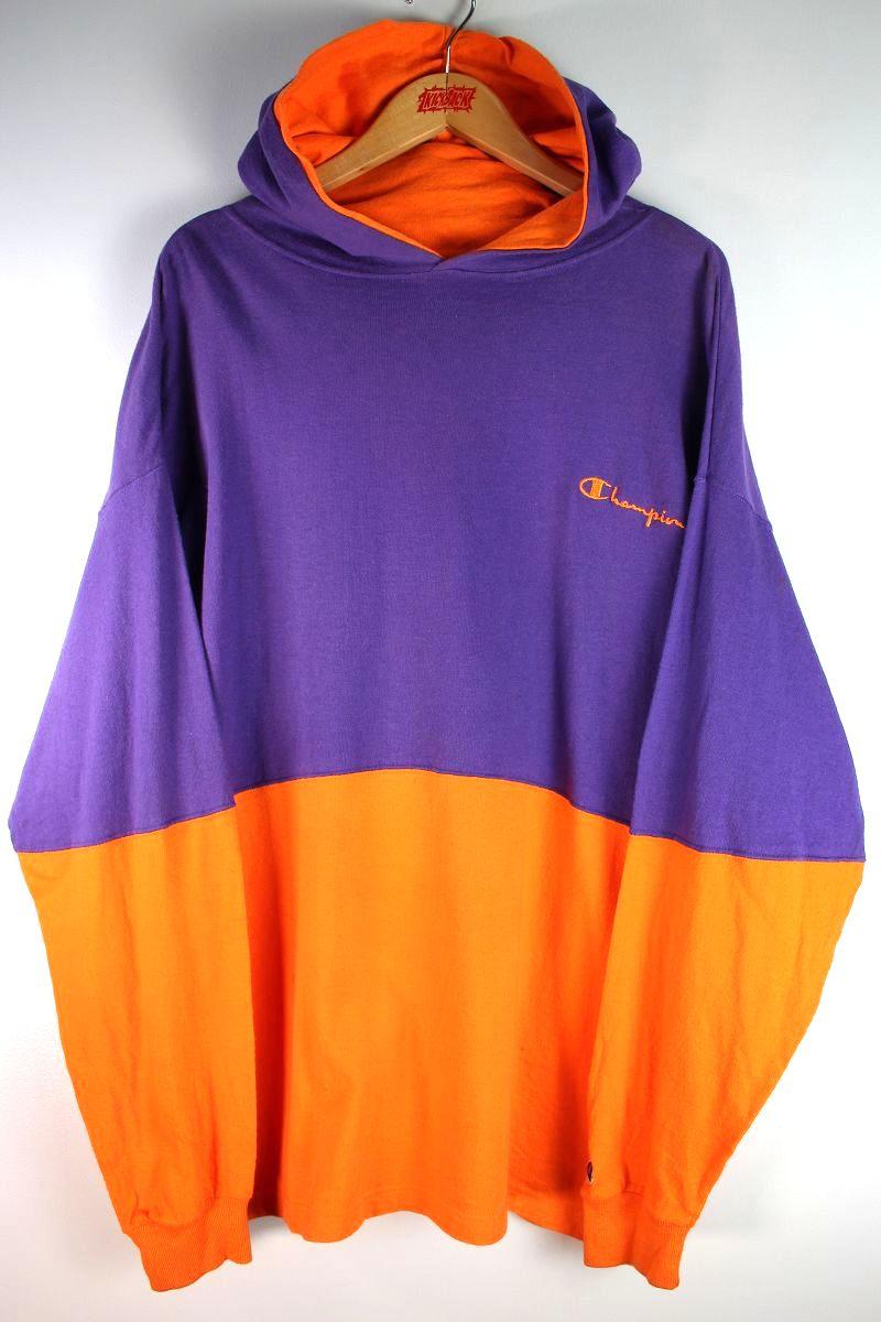USED!!! CHAMPION / 2-TONE HOODIE Tee (90'S) / purple×orange