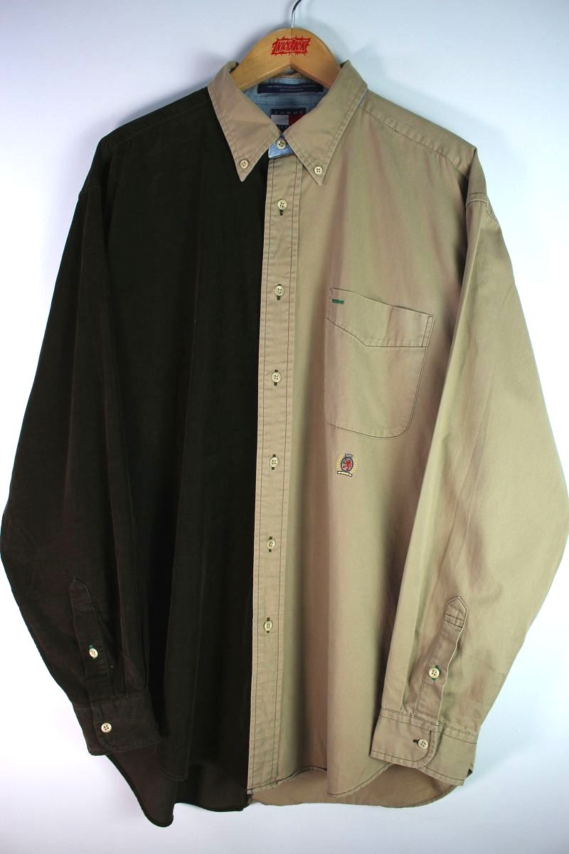 USED!!! TOMMY HILFIGER / 2-TONE BUTTON DOWN SHIRTS (90'S) / brown×beige