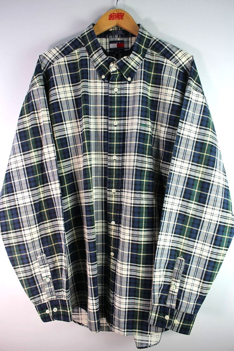 USED!!! TOMMY HILFIGER / PLAID BUTTON DOWN SHIRTS (90'S) / green×white×navy×yellow