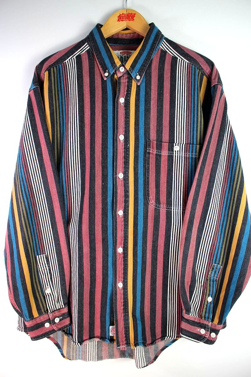 USED!!! ON THE BRINK / STRIPED BUTTON DOWN SHIRTS (90'S) / multi