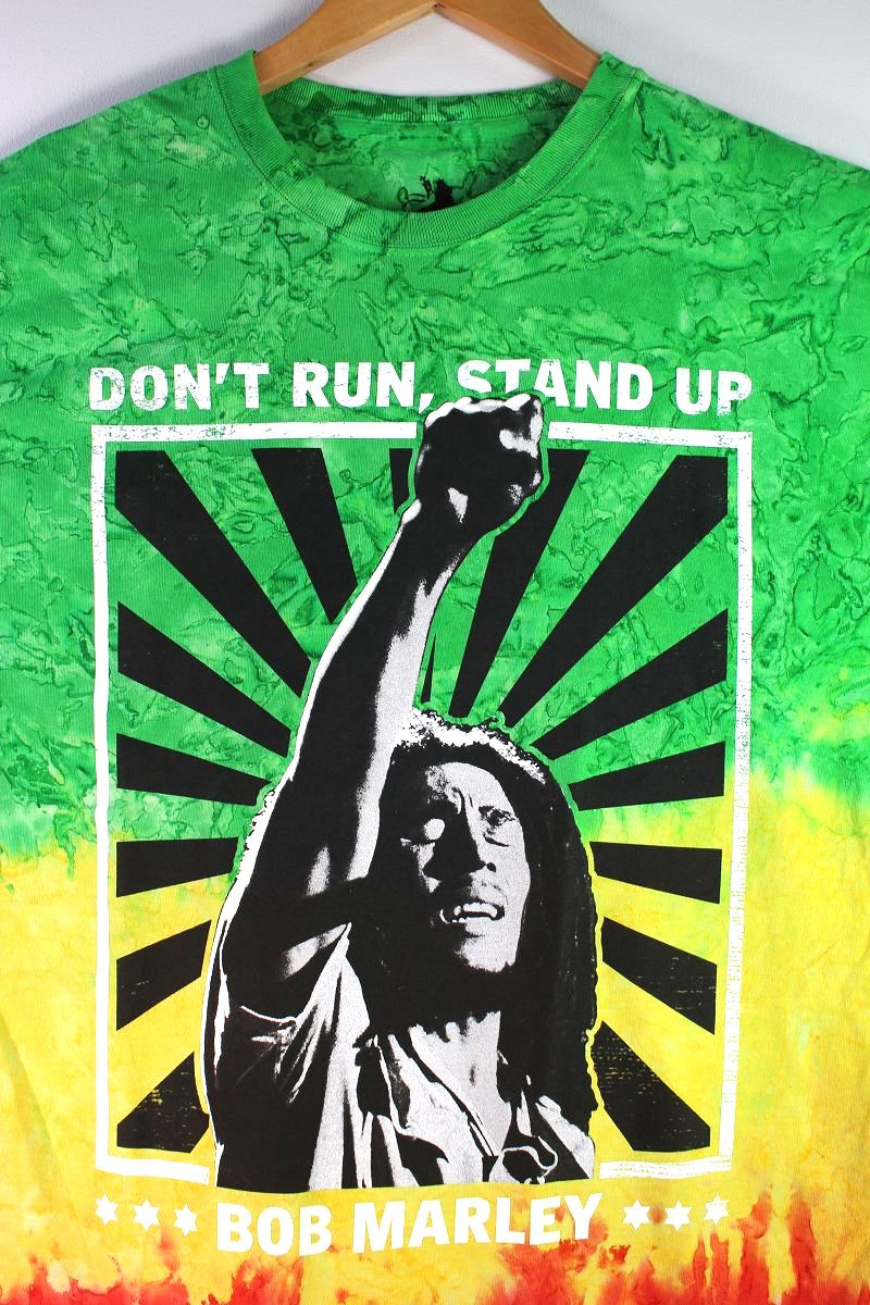 """BOB MARLEY / """"DON'T RUN-STAND UP"""" TIE DYE Tee / green×yellow×red"""