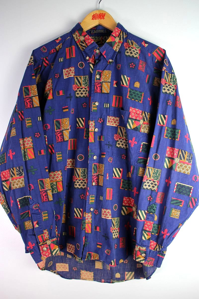USED!!! COLOURS by ALEXANDER JULIAN / ALLOVER-PRINT BUTTON DOWN SHIRTS (90'S) / blueberry