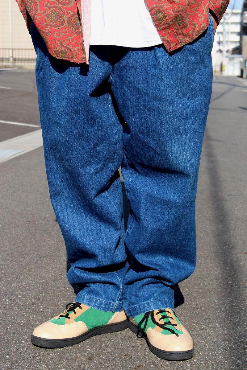 USED!!! DOCKERS / DENIM WORK PANTS (90'S) / washed indigo