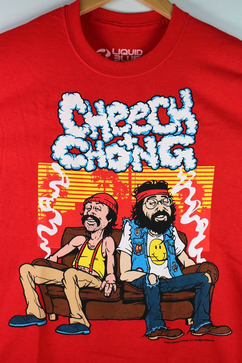 """CHEECH & CHONG / """"COUCH LOCKED"""" Tee / red"""