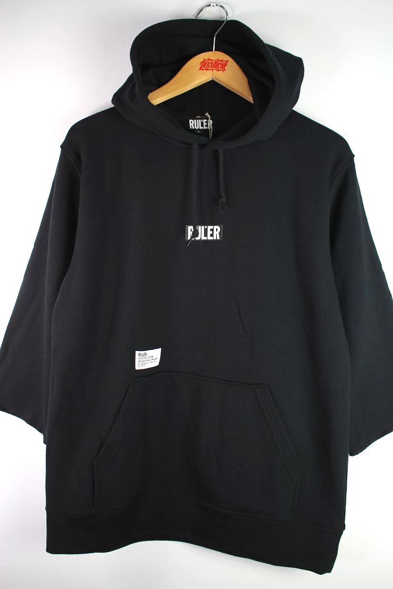"RULER / ""ICON"" 3/4 SLEEVE 7.4OZ SWEATHOODIE / black"