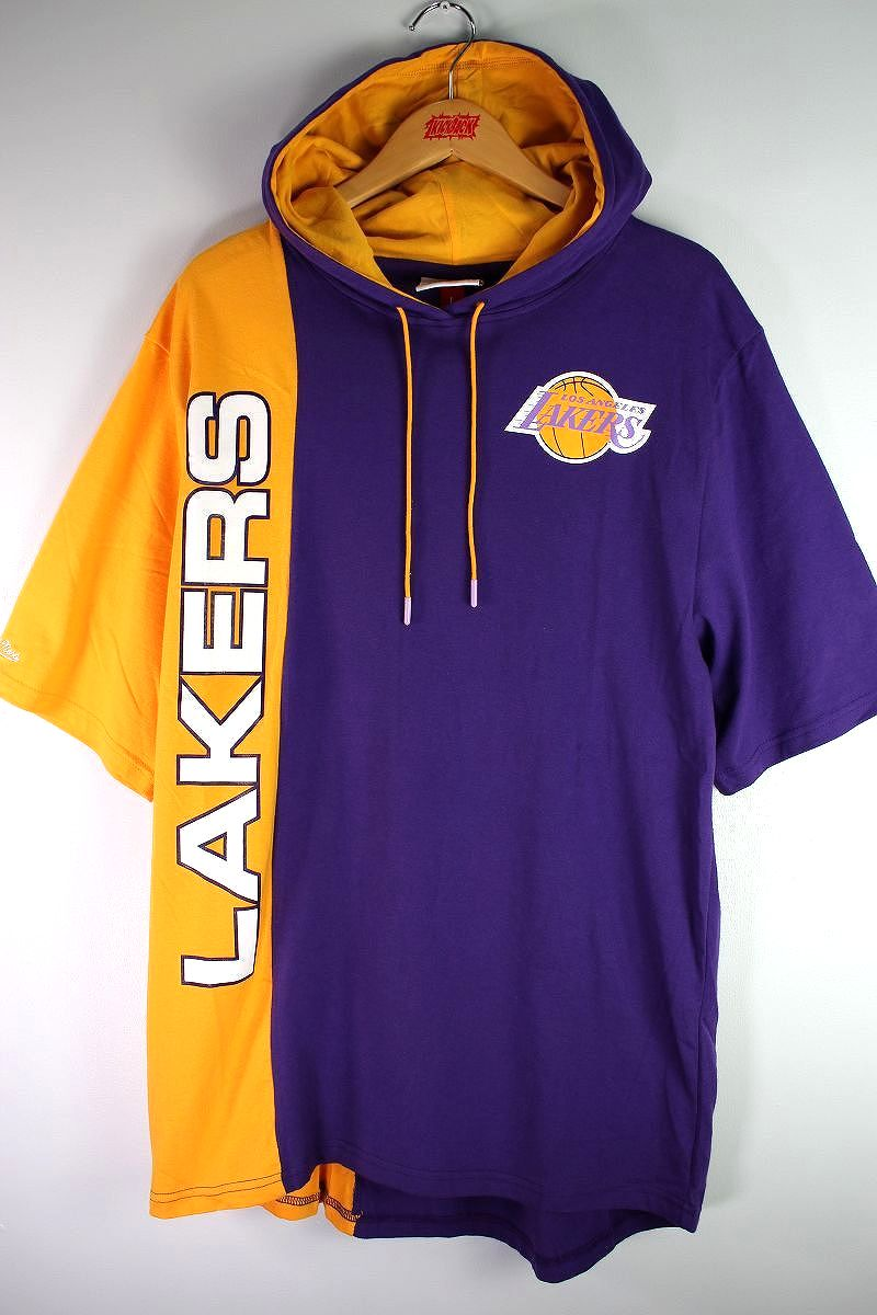 """MITCHELL&NESS / """"LOSANGELS LAKERS"""" 2-TONE HOODED Tee / purple×yellow"""