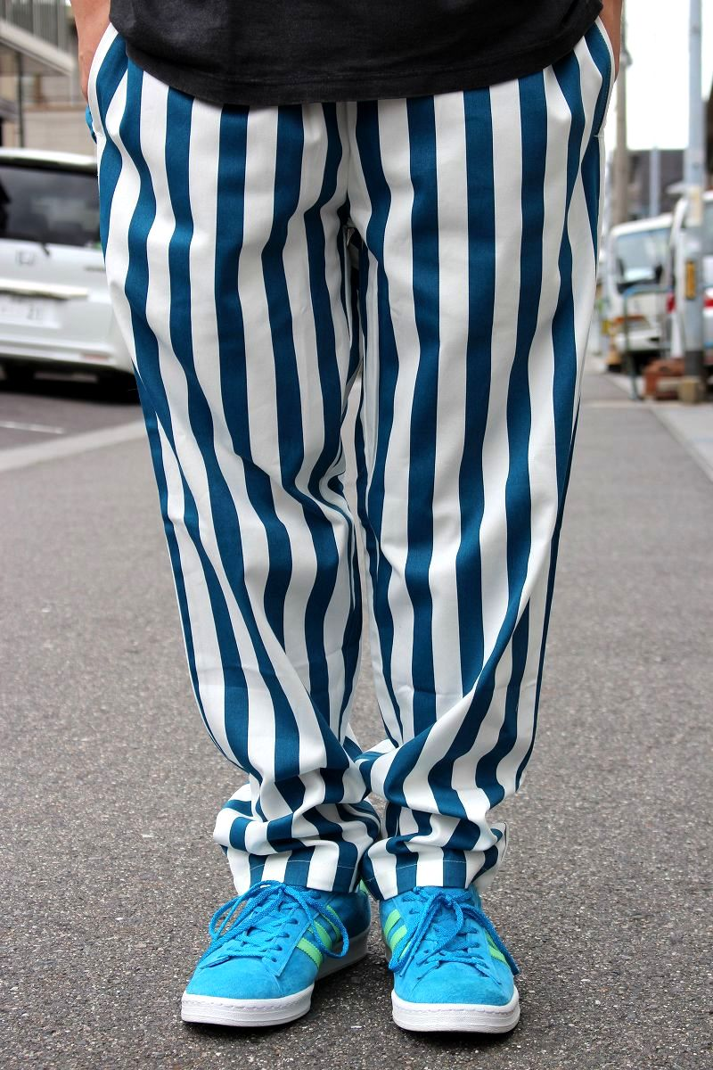 COOKMAN / WIDE STRIPE CHEF PANTS / navy×white