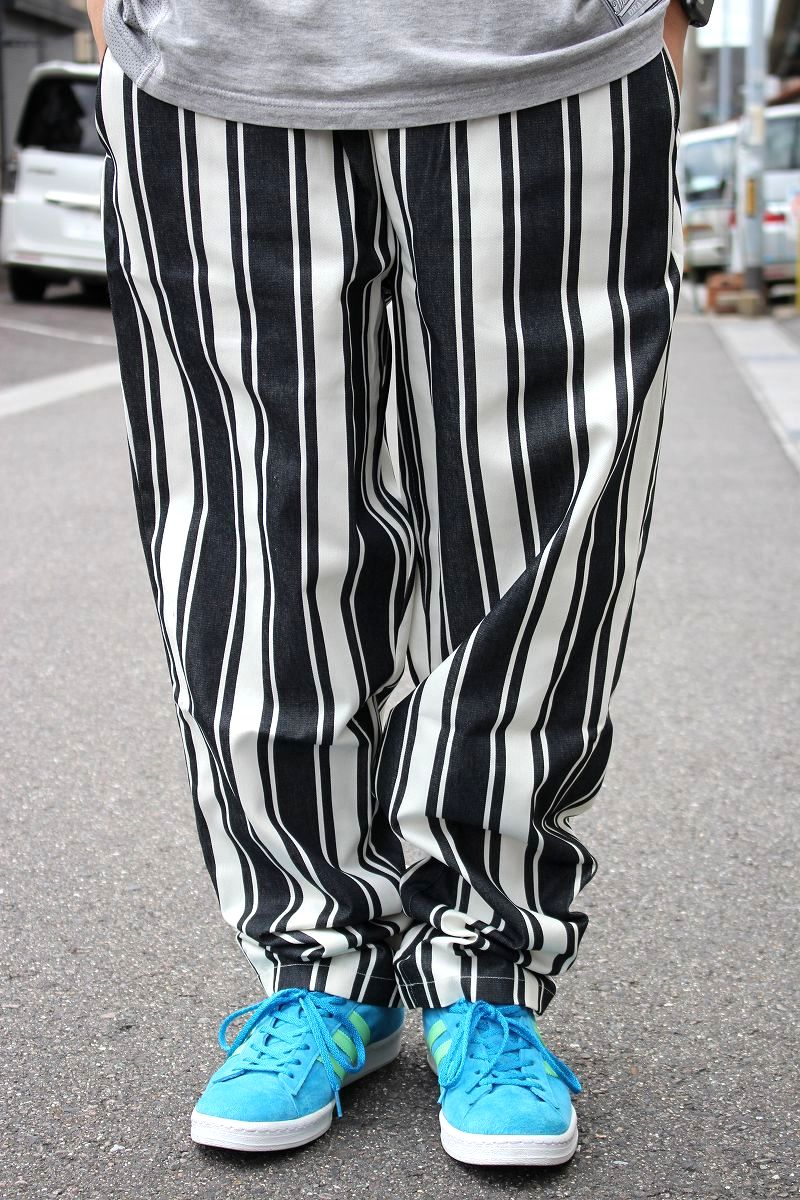 COOKMAN / AWNING STRIPE CHEF PANTS / black×white