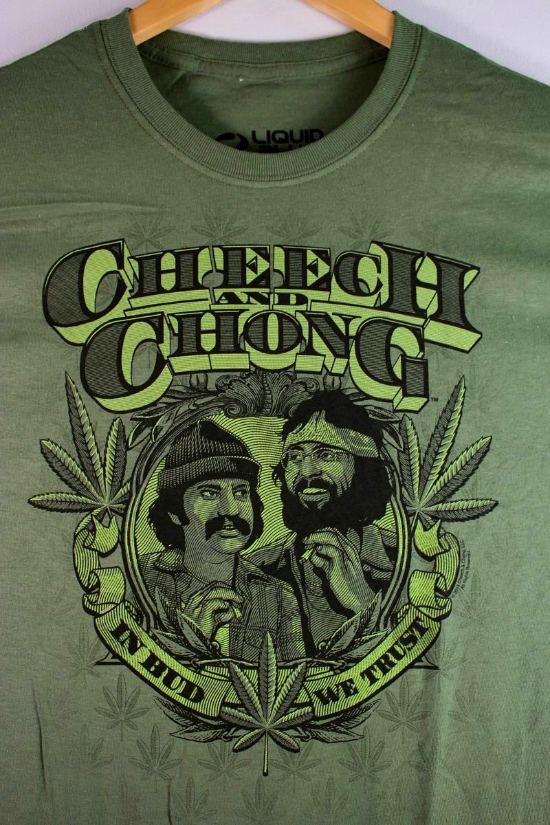"""CHEECH & CHONG / """"IN WEED WE TRUST"""" Tee / olive"""