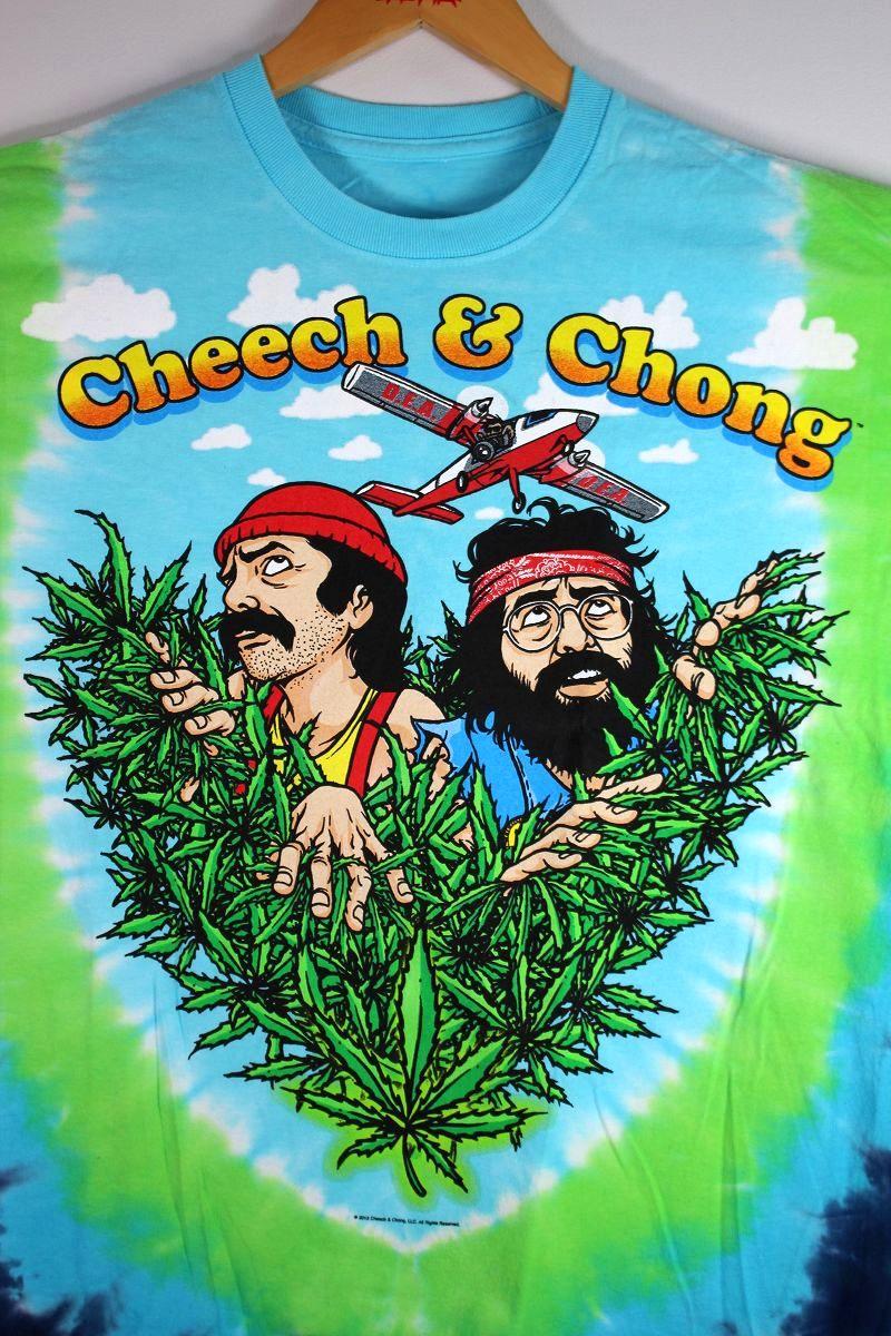 "CHEECH & CHONG / ""FIELD OF DREAMS"" TIE-DYE Tee / light blue×yellow green"