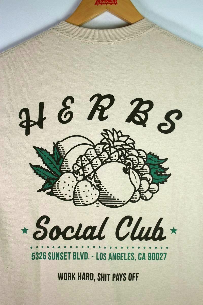 """RULER / """"HERBS SOCIAL CLUB"""" Tee / beige"""