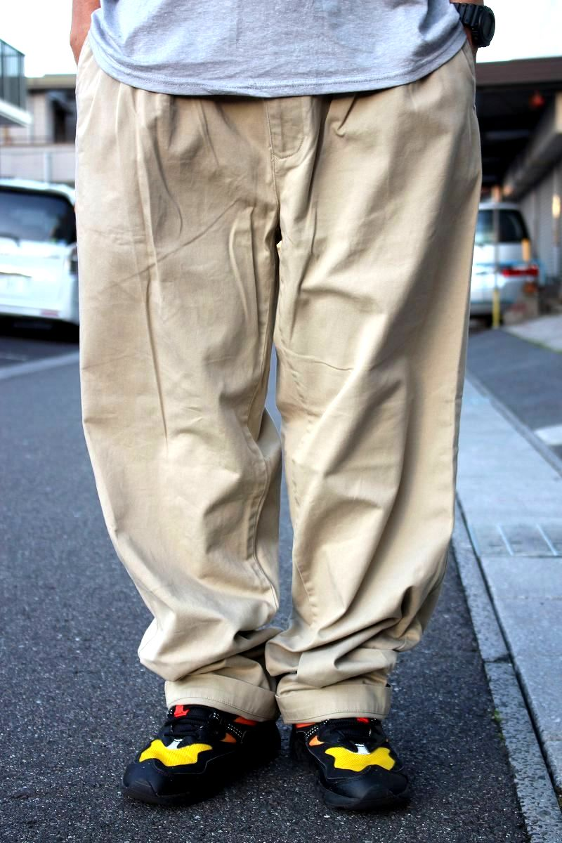 USED!!! POLO RALPH LAUREN / TWO-TUCK CHINO WORK PANTS (90'S) / beige