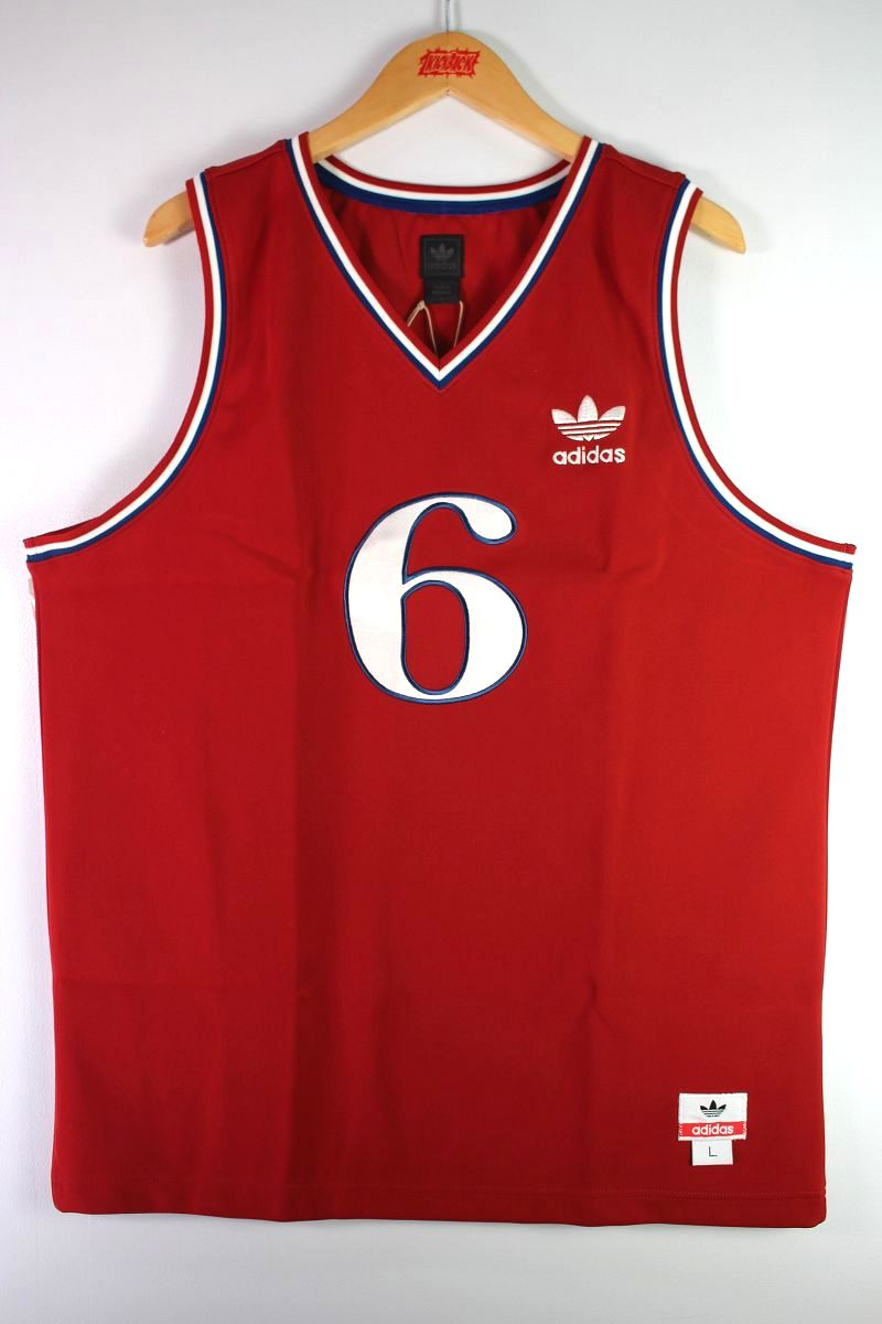 """DEADSTOCK!!! adidas / """"PHILLA"""" BASKET JERSEY (02'S) / red×blue×white"""