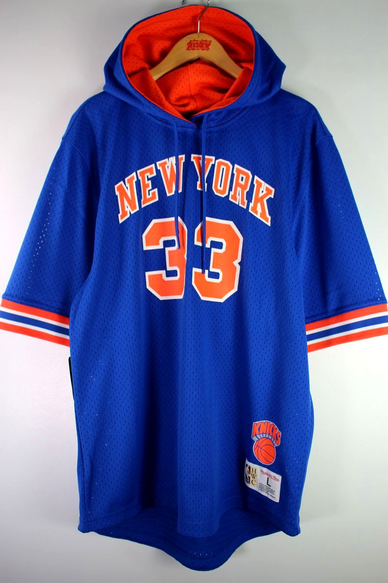 "MITCHELL&NESS / ""NEWYORK KNICKS -Patrick Ewing-"" MESH SS HOODIE / blue×orange"