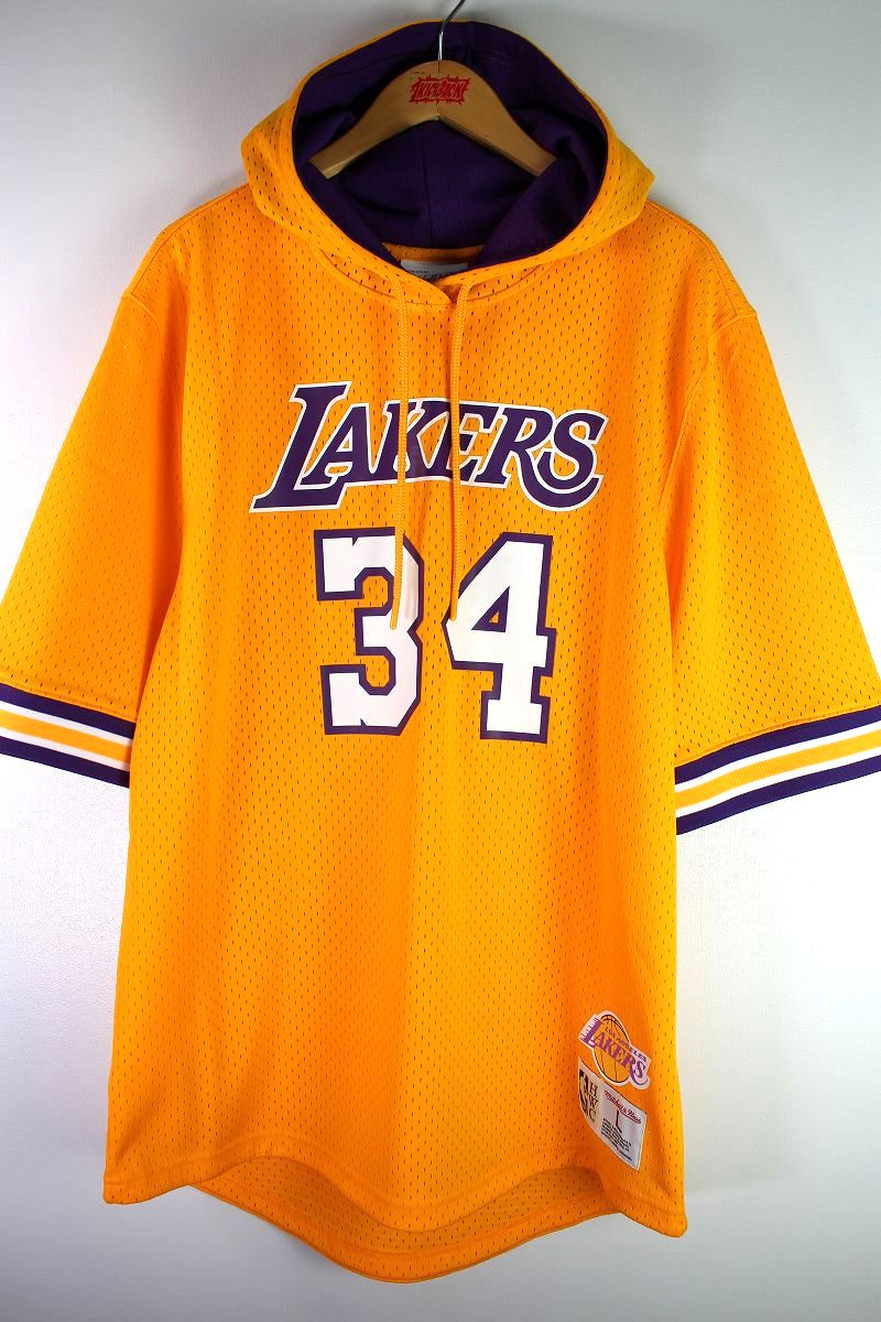 """MITCHELL&NESS / """"LOS ANGELS LAKERS -Shaquille O'Neal-"""" MESH SS HOODIE / yellow×purple"""