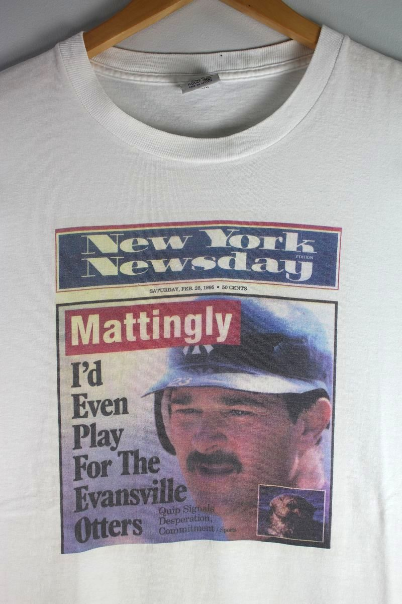 """USED!!! """"DON MATTINGLY ON NEW YORK NEWSDAY"""" NEWS PAPER Tee Tee (90'S) / white"""