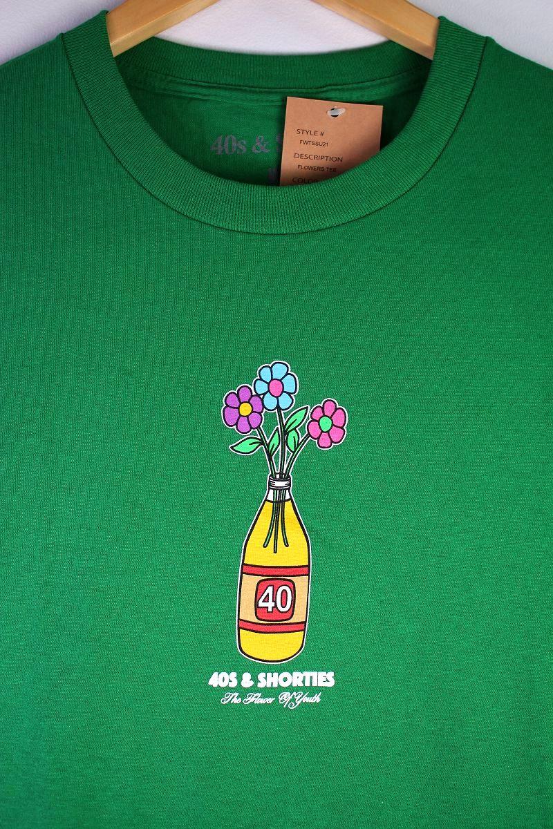"""40S & SHORTIES / """"FLOWERS"""" Tee / kelly green"""