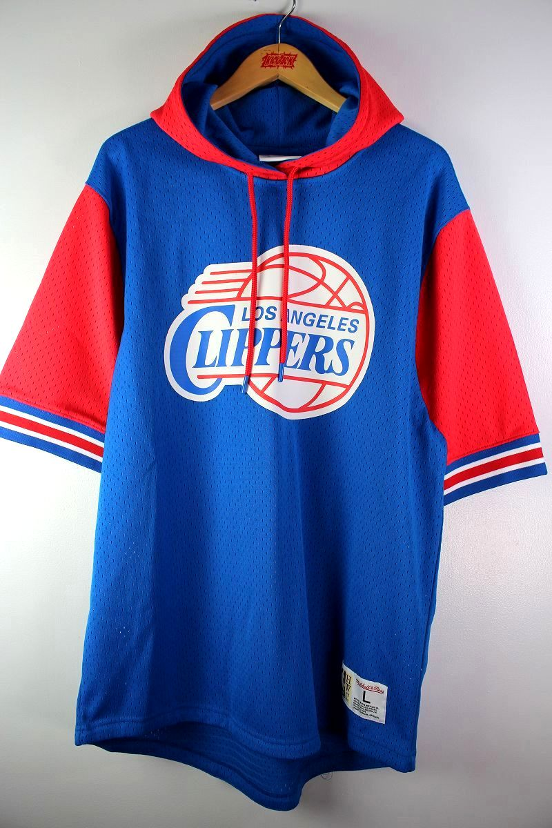 """MITCHELL&NESS / """"LOS ANGELS CLIPPERS"""" MESH SS HOODIE / blue×red"""