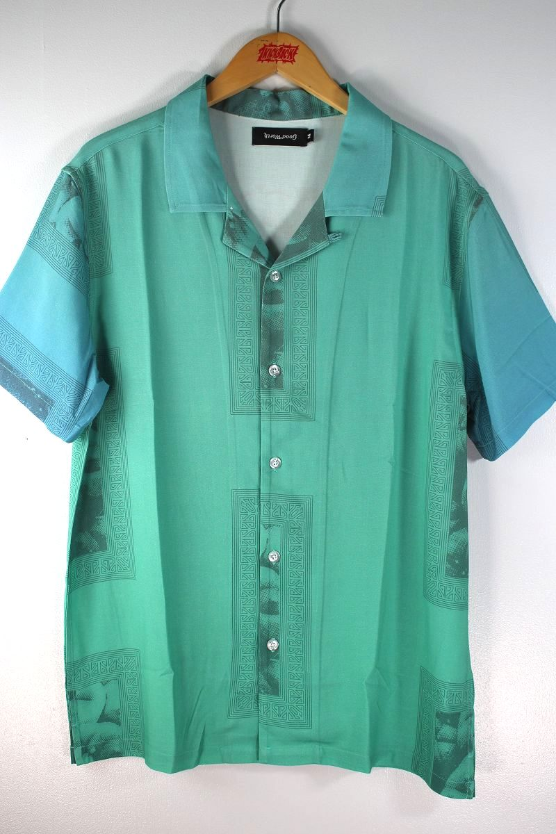 """GOOD WORTH&CO. / """"PEYOTE"""" OPEN COLLAR SS SHIRTS / tarquoise"""
