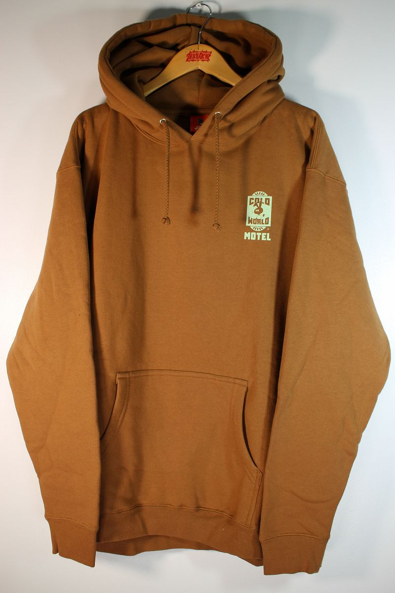 """COLD WORLD FROZEN GOODS / """"MOTEL BUNNY"""" PULLOVER HOODIE / saddle brown"""