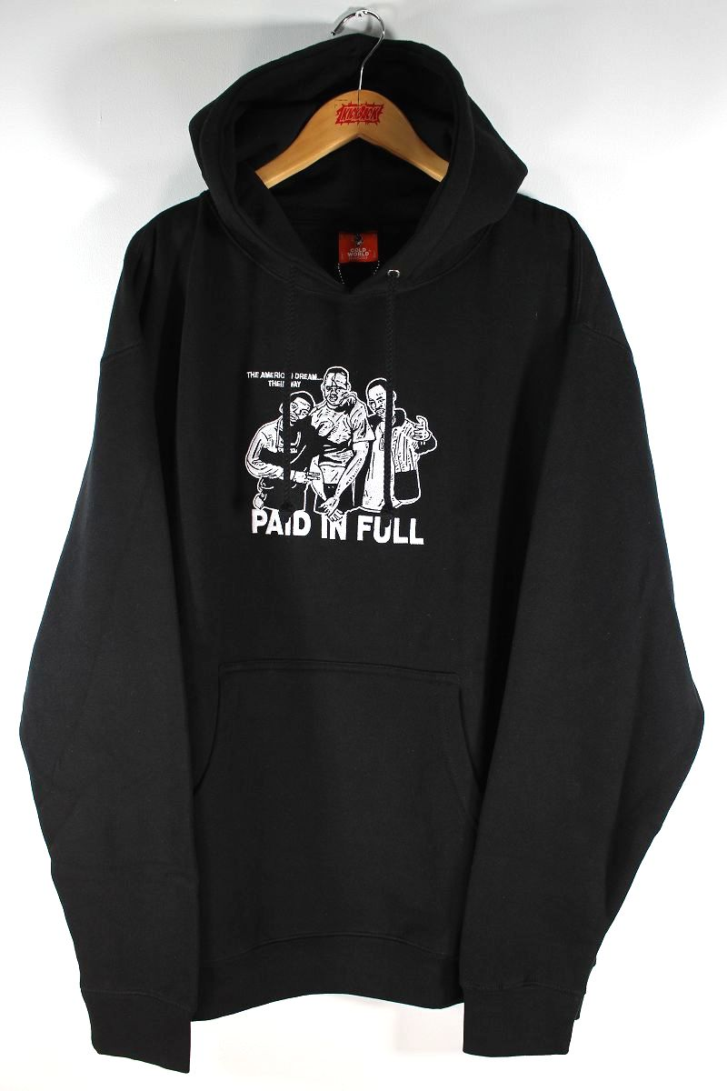 """COLD WORLD FROZEN GOODS / """"PAID IN FULL"""" EMBROIDERED PULLOVER HOODIE / black"""