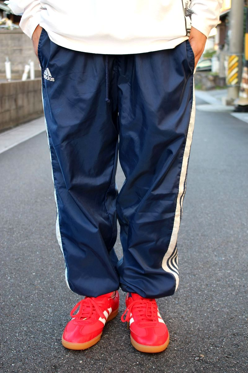 USED!!! adidas / 3-STRIPES NYLON PANTS (90'S) / navy×white
