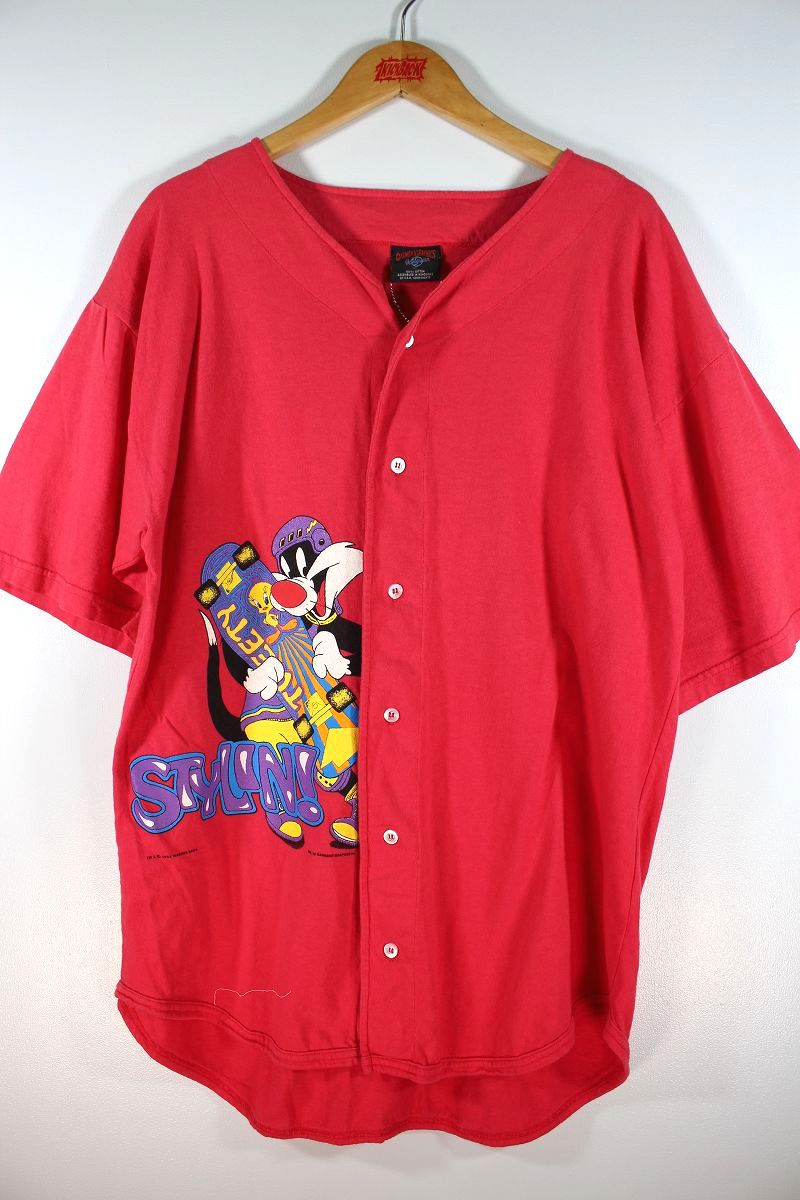 USED!!! WORNER BROTHERS OFFICIAL / COTTON BASEBALL SHIRTS (90'S) / coral red