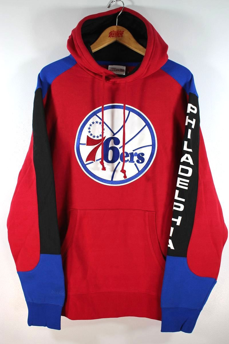 """MITCHELL&NESS / """"PHILADELPHIA 76ERS"""" COLOR-BLOCK PULLOVER SWEAT HOODIE / red×blue×black"""