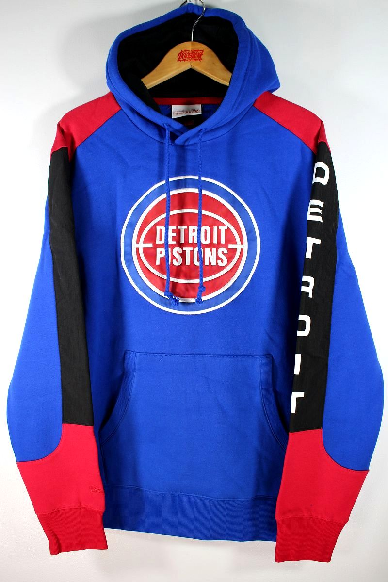 """MITCHELL&NESS / """"DETROIT PISTONS"""" COLOR-BLOCK PULLOVER SWEAT HOODIE / blue×red×black"""