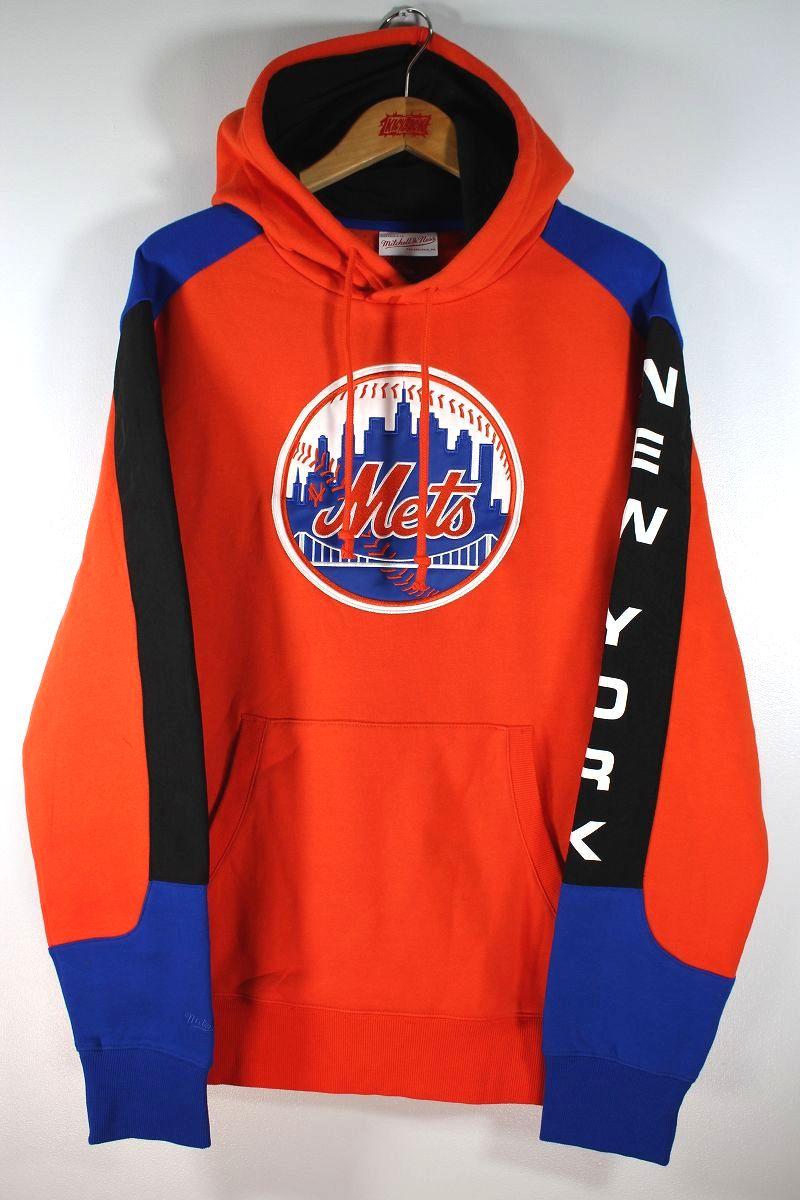 "MITCHELL&NESS / ""NEWYORK METS"" COLOR-BLOCK PULLOVER SWEAT HOODIE / orange×blue×black"
