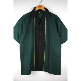 "HILTON / ""QUEST"" BOWLING SHIRTS / dark green×black"