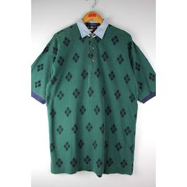 USED!!! TOMMY HILFIGER / ARGYLE POLO SHIRTS (90'S) / green