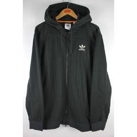 adidas ORIGINALS / PINSTRIPE ZIP-UP SWEAT HOODY / chacoal