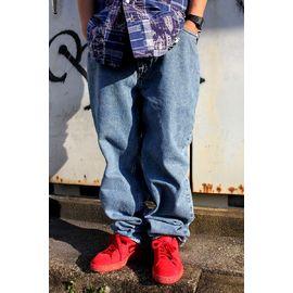 USED!!! TOMMY HILFIGER / BUGGY DENIM PANTS (90'S) / stonewash indigo