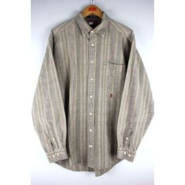 USED!!! TOMMY HILFIGER / STRIPED LS SHIRTS (90'S) / light brown