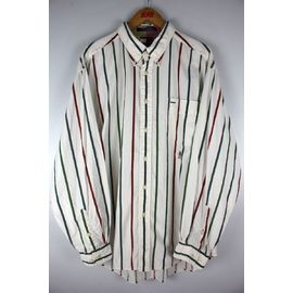 USED!!! TOMMY HILFIGER / STRIPED BUTTON DOWN SHIRTS (90'S) / white×green×burgundy