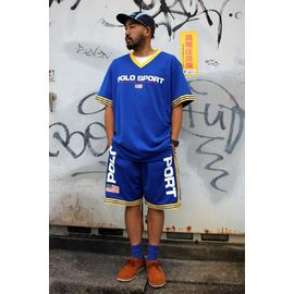 POLO SPORT / MESH SET-UP JERSEY / blue×yellow