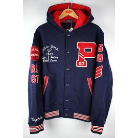 POLO RALPH LAUREN / HOODED LETTERMAN JACKET / navy×red