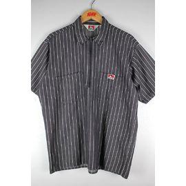 USED!!! BEN DAVIS / HALF-ZIP HICKORY STRIPE SS WORK SHIRTS (90'S) / charcoal×white