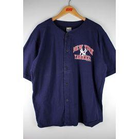USED!!! NEWYORK YANKEES / COTTON BASEBALL SHIRTS (90'S) / navy
