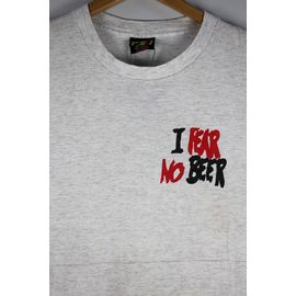 """USED!!! NO BRAND / """"NO FEAR NO BEER"""" Tee (90'S) / light heather grey"""