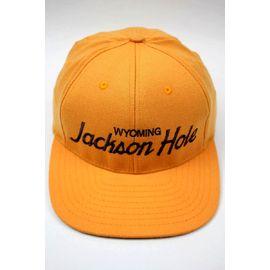 "HOOD HAT / ""JACKSON HOLE WY"" SNAPBACK CAP / apricot"