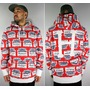"""HUF×BUDWEISER / """"LABEL"""" ALL OVER PRINT PULLOVER SWEAT HOODY / red×white"""